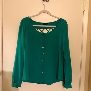 Long sleeve turquoise green blouse